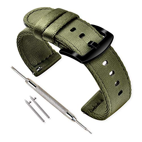 Vinband Strap Watch High Quality Nylon Strap Watches - 18mm, 20mm, 22mm, 24mm Strap Watch with Stainless Steel Buckle (20mm, Military Green)