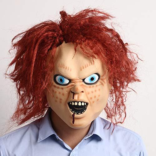 XUEQIN Chakit Doll Latex Maske, Super Horror-Zombie-Maske, Ghost Baby Wiederkehrenden Film-Requisiten, Halloween-Party-Requisiten