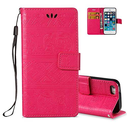 iPhone 5S Brieftasche,iPhone SE Flip Case Cover, Aeeque® Glitzer Luxus [Schwarz Gold Spleiß Stil] Kartenfach Standfunktion Handytasche für iPhone 5/5S/SE mit Abnehmbar Handy Lanyard und Weich Silikon  Elefant Hot Pink