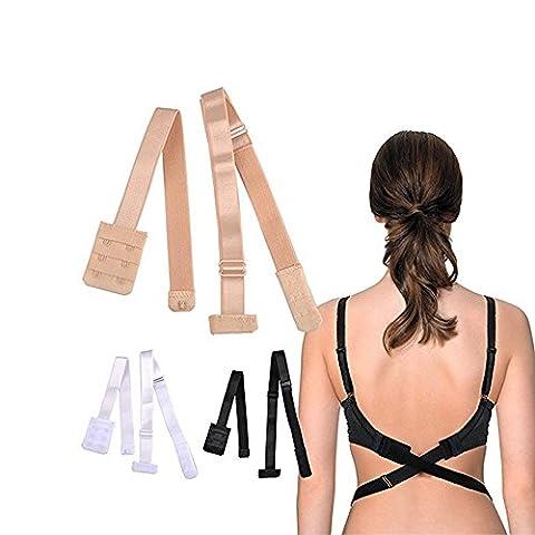 Yakamoz 3 PACK Femme Convertisseur de Soutien-gorge Bas du Dos Low Back Bra Converter Pour Robe Sans Dossier Avec 6 crochets