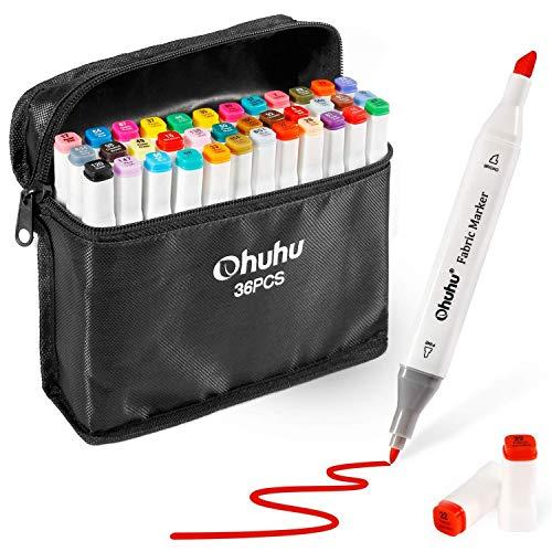 Ohuhu Textilmarker Permanent Stoffmalstifte 36 Farben, Dual Spitzen Textilmarkierungsstifte für DIY-kostüme, T-Shirt, Kleidung, Schuhe, Taschen und Andere Stoffarten, wasserbasiert und ()