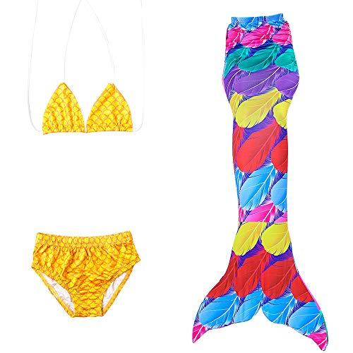 Mädchen Meerjungfrau Tails Bikini Badeanzug Cosplay Kostüm schwanzflosse meerjungfrau zum 3 Stücke Schwimmen Partei,c,1409/10yearold
