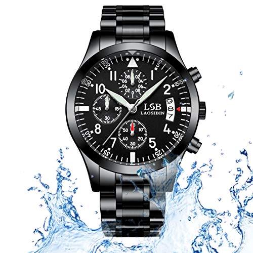Orologio sportivo da uomo al quarzo nero - Orologio da polso LSBLAOSIBIN Bracciale in acciaio inossidabile con zaffiro Specchio multifunzione con cronometro impermeabile 3ATM R-602