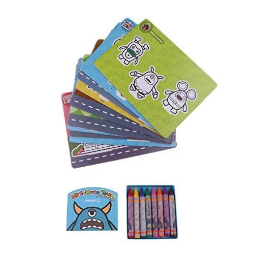 MagiDeal 1x Vorschule Karte Pädagogisches Spielzeug mit 8x Wachsmalstifte und 2x Vokabeltrainer...