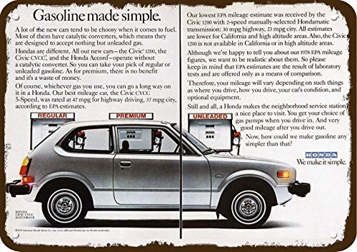 Laptopo 1978 Honda Civic CVCC Hatchback Car Vintage Look Replica Metal Sign