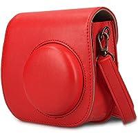 Pochette pour Fujifilm Instax Mini 8 / Mini 9 caméra instantanée Pochette pour caméra - kwmobile Sac photo en similicuir pour appareil photo instantané - pochette avec bandoulière en rouge