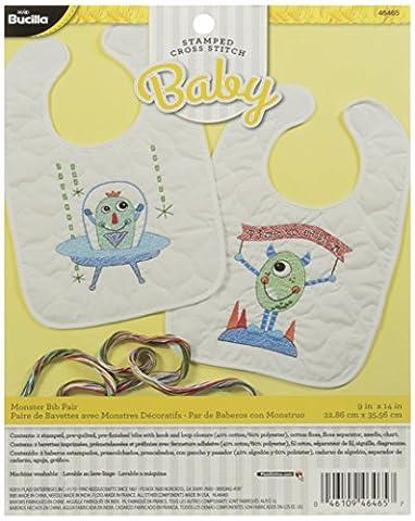 Bucilla Stamped Cross Stitch Bib Pair Kit, 9 by 14-Inch, 46465 Monster