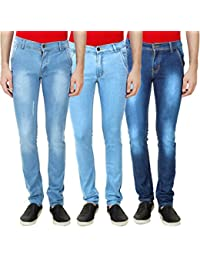 Ansh Fashion Wear Men's Denim Lycra Stretchable Jeans Pack Of 3 - Casual Wear