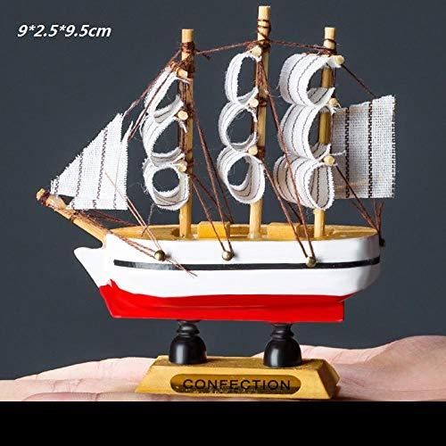 hacpigbb Velero De Madera con Red De Pesca Modelo Velero Vela Velero Playa - Estilo 16