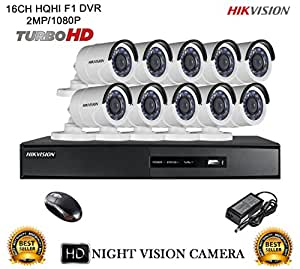 Hikvision CCTV Security System With Turbo DS-7216HQHI-F1 16CH DVR + DS-2CE16DOT-IR HD Bullet Camera 10pcs Combo