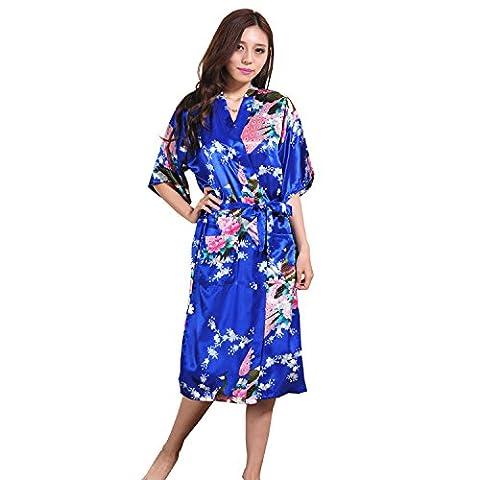 GY&H Art und Weisekleiddame lange Punktwolljacke dünner Abschnitt japanischer Kimono-Robe kleid lose Saphir-Bademantel,sapphire,XXL