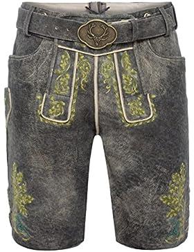 Gweih & Silk kurze Lederhose Samuel in Grau