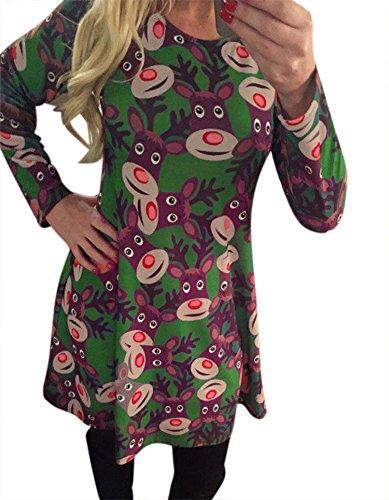 ZEARO Pullover Damen Kurz Kleider Weihnachten Minikleid Sweater Langarm Pulli Schneemann Druck Tops Oberteile Grün