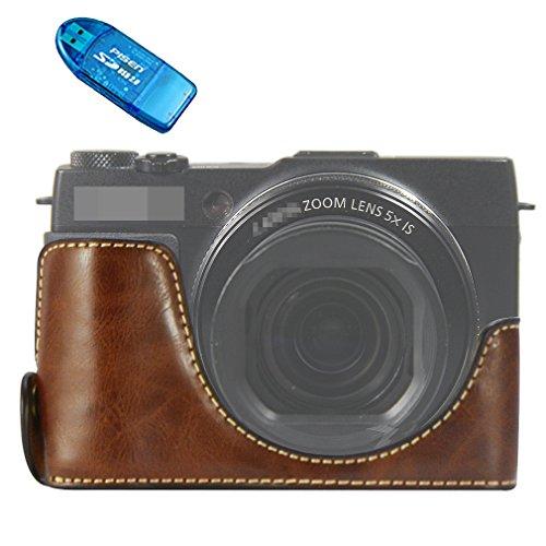 Galleria fotografica First2savvv Custodia Fondina in pelle sintetica per macchine fotografiche reflex compatibile con Canon PowerShot G1X Mark II marrone scuro + lettore di schede SD XJPT-G1XII-D10G10