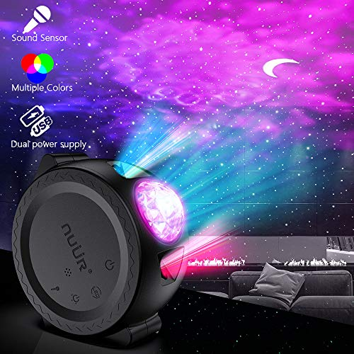 Ozean Projektor, NUÜR 3 in 1 Mond Stern Wellen Projektor USB Wiederaufladbar mit 2200mAh Akku Projektor Lampe, Multi-Modi Sternenhimmel Projektor mit Ton Sensor Funktion für Kinder Erwachsene