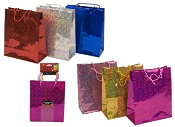 Medium Size Holographic Gift Bag - Assorted Colours - Pack of 3 ...