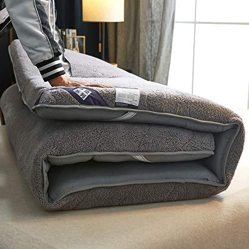 Lovehouse - materasso futon giapponese da pavimento, spesso tessuto felpato tatami tappetino portatile da campeggio per bambini, pieghevole e arrotolabile, grigio, 180x200cm(71x79inch)