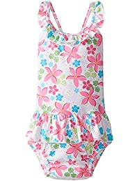 i play Classics Ultimate Swim Nappy Ruffle TankSuit for Girls (2-3 Years, Toddler, White Frangipani)