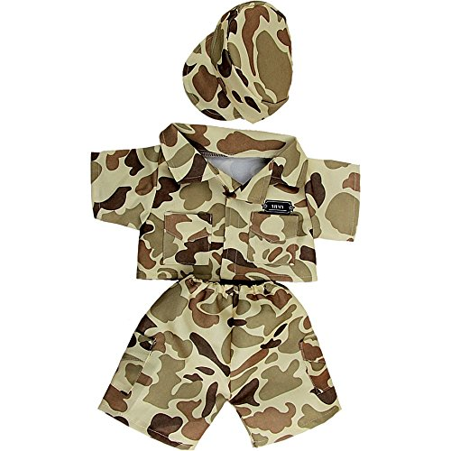 Kopf Kostüm Teddybär (Braun Army Kostüm Soldat - 25cm - Teddybär-Klamotten -)