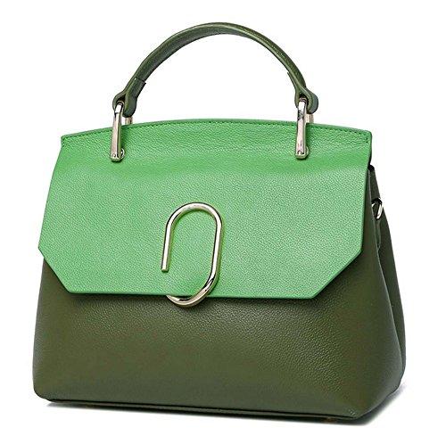 Xinmaoyuan Sacs à main pour femme Sacs à main en cuir sac à main d'épaule Unique Couleur Hit Sac en cuir sauvage de mode paquet Coffin Green