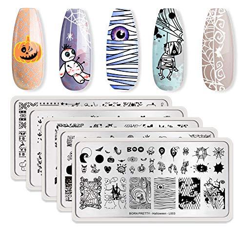 BORN PRETTY Nail Art Stempel Schablone Halloween Weihnachten Blumen Frühlings Garten Stamping 5Pcs Rechteck Stempelplatten Set