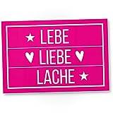 Lebe Liebe Lache (Live, Love, Laugh) - Kunststoff Schild, süße Wanddeko Sie, Deko Türschild Mädchen-Wohnung, Mädchen Zimmer, Geschenkidee Geburtstagsgeschenk, persönliches Geschenk Beste Freundin