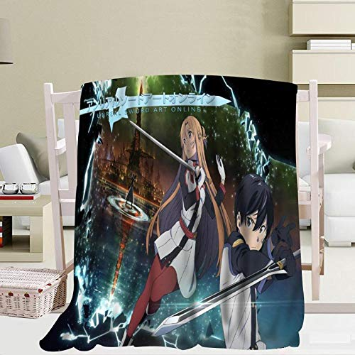 BLAMARIA Mantas para Cama Anime Sword Art Cartoon Impreso Franela Suave Manta...