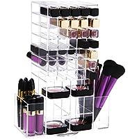 Lifewit Organizador De Maquillaje Multiuso Acrílico Almacenamiento Cosmético 360 Grados Torre Giratorio Para Pintalabios Colorete Gran Capacidad Transparente