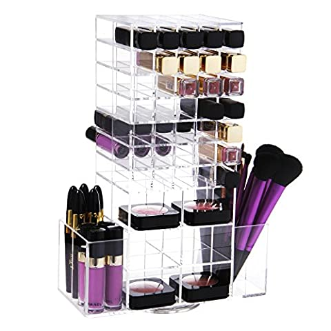 Lifewit Spinning Lipstick Tower Brush Holder Premium Acrylic Rotating Lipgloss
