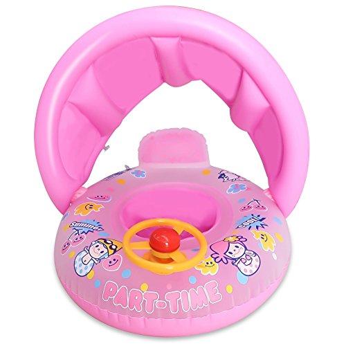 Preisvergleich Produktbild TOAOB Baby Schwimmhilfen Schwimmen Ring mit Sonnendach 0-5 Jahre Aufblasbares Kinderboot für Wasserspaß Familienspaß in See Meer Schwimmbad