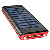 Solar Charger Power Bank 24000mAh , OLEBR portable charger big capacity external battery with high speed Input Port, 2 LED Light and 3 High Speed USB Charging Ports for iPhone, iPad, Samsung Galaxy, Android and other Smart Devices-RED