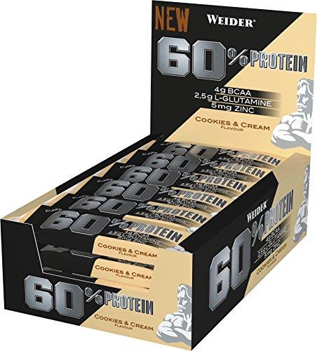 WEIDER - 60% PROTEIN BAR - 24 Barritas * 45 Gramos, Cookie Crema