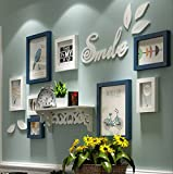 LI LU SHOP Rahmen Holz Bilderrahmen, Moderne einfache hochwertige Rahmen, Beste große Bilderrahmen Wand Set Haus Dekoration (Farbe : White+Blue)