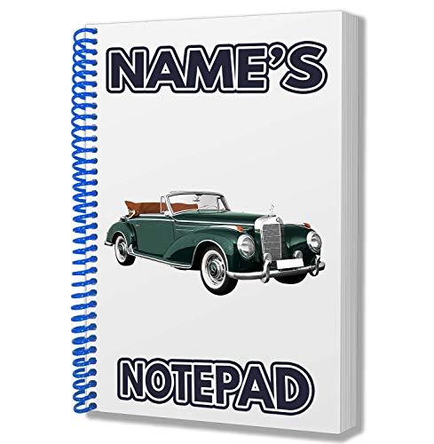 Mercedes Oldtimer Personalisiertes Geschenk–A5Notizblock/Notizbuch, Zeichnungen Doodles Tagebuch Notizen