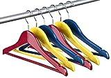 Kinder Kleiderbügel-Set aus Holz unifarben - 6er Set - 2 x rot, 2 x blau, 2 x gelb
