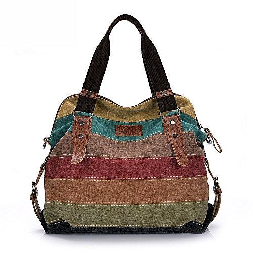 Zeug Raum (Canvas Damen Handtasche Mehrfarbig gestreift Umhängetasche Schultertasche (Style 2))