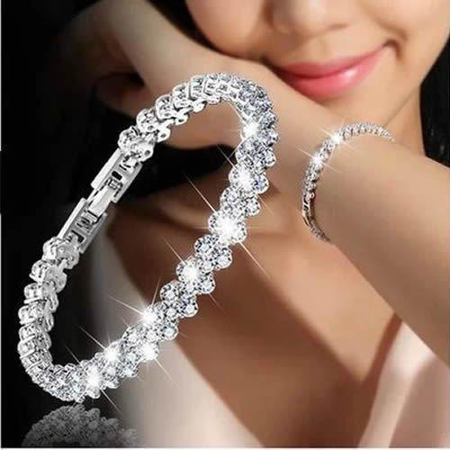Simsly Crystal Bracelet chaîne en argent à la main avec...