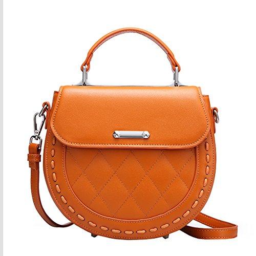DISSA EQ0854 Damen Leder Handtaschen Satchel Tote Taschen Schultertaschen Orange