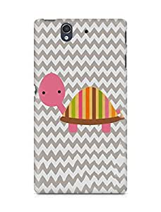 Amez designer printed 3d premium high quality back case cover for Sony Xperia Z (Diy cute pink tortoise pattern chevron)