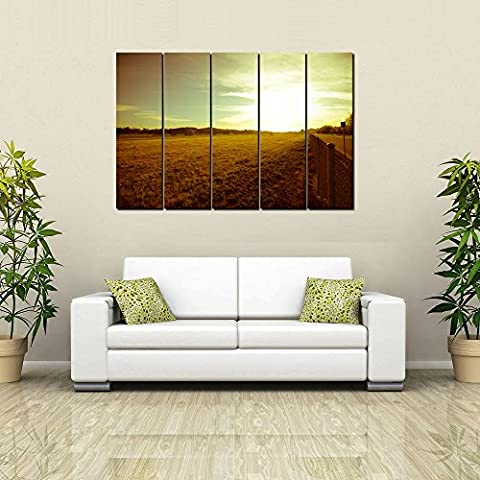 999Store digitally printed laminated wooden framed multiple frames printed Sun Set Indian art panels like Painting - 5 Frames (130