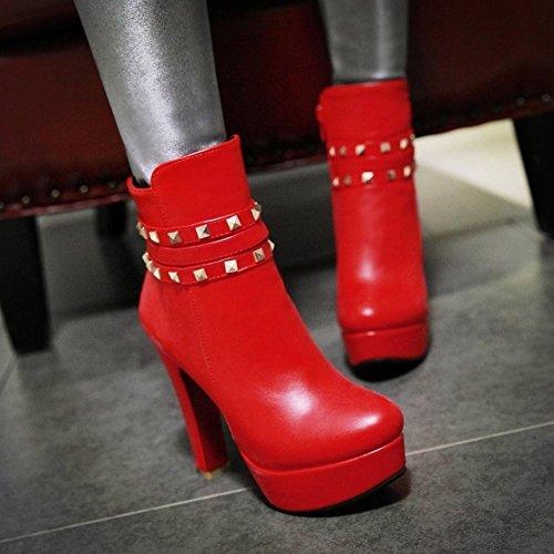 Mee Shoes Damen Reißverschluss Plateau high heels Ankle Boots Rot