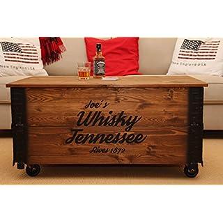Uncle Joe´s Couchtisch XL Whisky Truhentisch Truhe im Vintage Shabby chic Style aus Massiv-Holz in braun mit Stauraum und Deckel Holzkiste Beistelltisch Landhaus Wohnzimmertisch Holztisch nussbaum