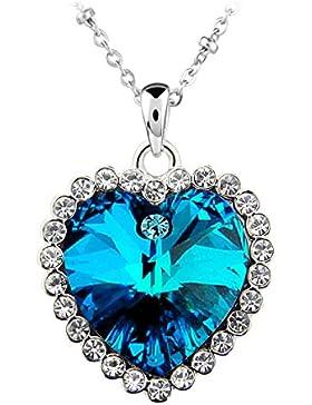 Le Premium® Titanic Ozean Herz Anhänger Halskette herzförmigen Swarovski Metallic Blau kristalle