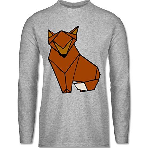 Eulen, Füchse & Co. - Origami Fuchs - Longsleeve / langärmeliges T-Shirt für Herren Grau Meliert