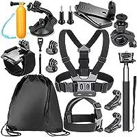 Neewer 14-in-1 Kit: Pettorina, Fissaggio da Casco, Monopiede, Maniglia Galleggiante ecc. per GoPro Hero 6 5 4 3 + 3 2 1 Hero Session 5 Black AKASO EK7000, Sony Sport DV Fotocamere d'Azione