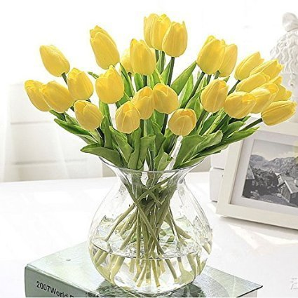 CalciferÃ'Â12 Pcs (One Set)13.8'' New Beautiful PU Mini Artificial Tulips Flowers Bouquet For...
