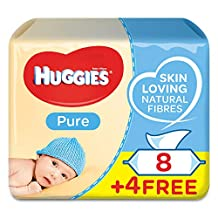 HUGGIES BABY WIPES PURE,  8+4 Free ,  56s x 12 Pack (672 Wipes)