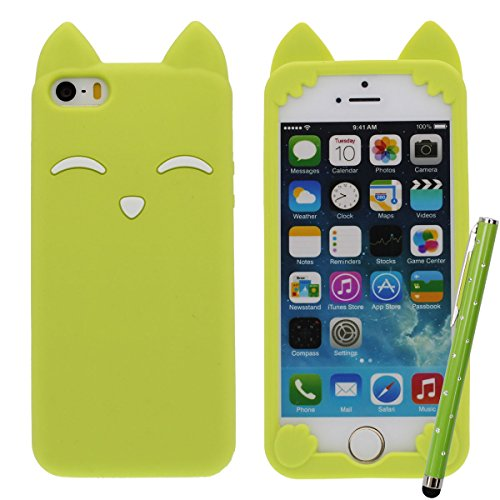 iPhone 5C 5S Pink Case, Mädchen Stil, Karikatur Stil 3D Fuchs Modellieren Silikon Hülle Handy Tasche Schutzhülle für iPhone 5 5S 5C 5G, Bunt Weiche & Elastic Prämie Silikon Cover Case + 1 Stylus pen Grün