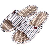 Slip On Pantofole Happy Lily antiscivolo punta aperta Unisex coppie Sandalo Organic Lino da umidità fresco lino pantofole scarpe per interni o esterni, Navy, uk 7.5-8.5