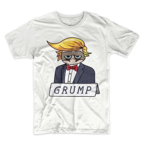 Donald Trump Komisch Caricature Grump Grumpy Cat Herren T-Shirt Weiß